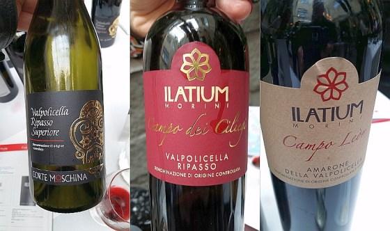 Corte Moschina Valpolicella Ripasso Superiore, and Ilatium Morini Valpolicella Superiore Ripasso Campo dei Ciliegi and Amarone della Valpolicella Campo Leon red wines