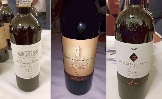 Marchese Antinori Chianti Classico Riserva, Badia a Passignano Chianti Classico Gran Selezione, and Guado al Tasso, Bolgheri Superiore wines