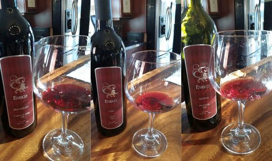 Enrico Winery Cabernet Libre, Syrah, and Pinot Noir wines