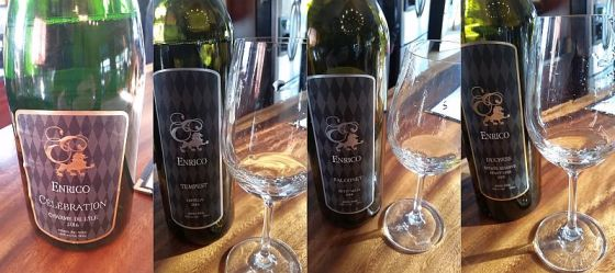 Enrico Winery Celebration, Ortega, Petit Milo, and Estate Reserve Pinot Gris wines