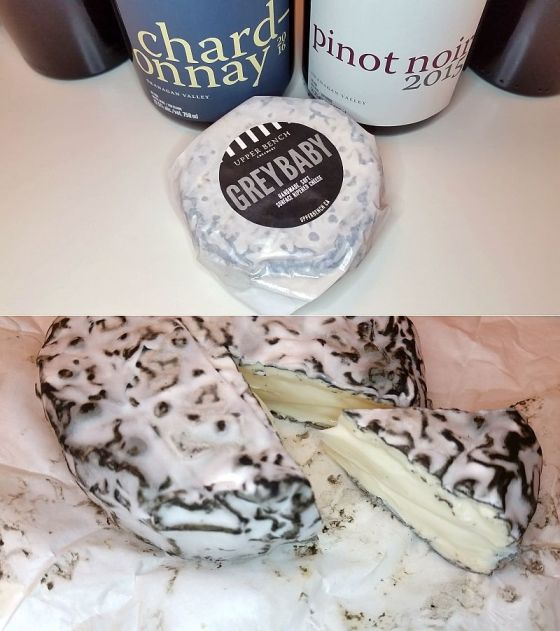Grey Baby cheese and wines from Upper Bench Winery and Creamery