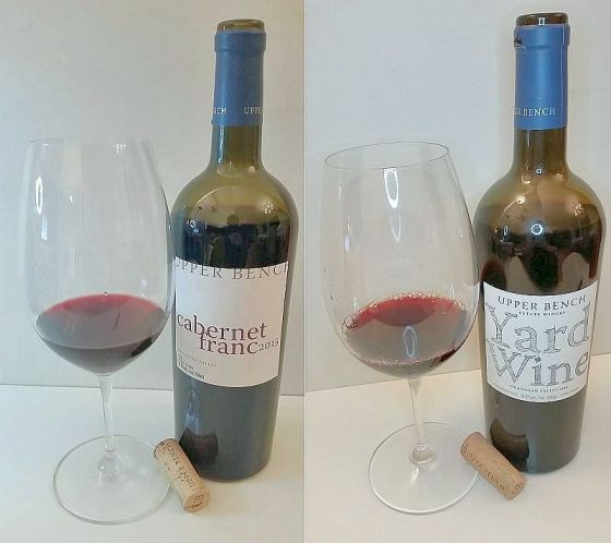 Upper Bench Cabernet Franc and Yard Wine with wine in glasses