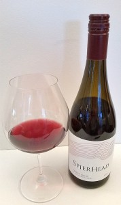 Spierhead Pinot Noir 2016 bottle plus glass of wine
