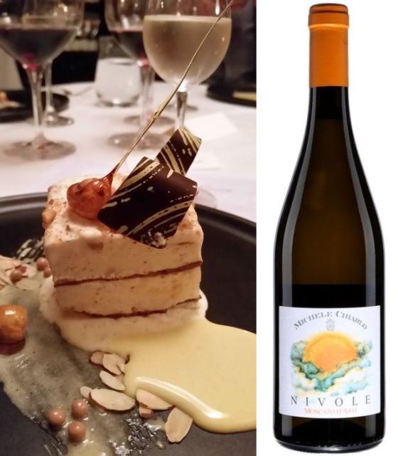 Hazelnut parfait with an almond cream and cocoa and Nivole Moscato d'Asti DOCG 2015