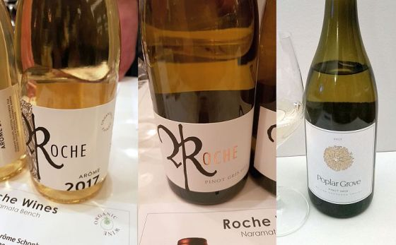 Roche Arome Schonberger Pinot Gris Barrel and Poplar Grove Pinot Gris wines
