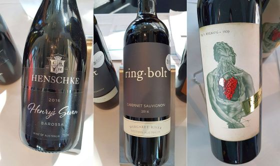 Henschke Henry's Seven Barossa Valley Barossa Shiraz Grenache Viognier, Ringbolt Margaret River Cabernet Sauvignon, and Red Heads Wine Night of the Living Red Australian Barossa Durif Cabernet Touriga