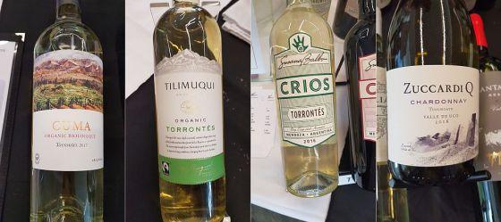 Michel Torino Cuma Organic Torrontes, Tilimuiqui Torrontes, Susana Balbo Wines Crios Torrontes, and Familia Zuccardi Q Chardonnay