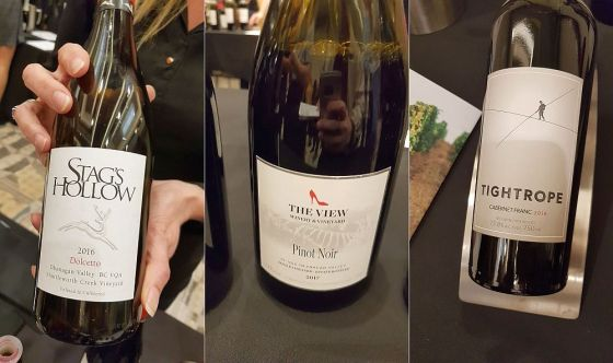 Stag's Hollow Winery & Vineyard Dolcetto 2016, The View Winery Pinot Noir 2017, and Tightrope Winery Cabernet Franc 2016