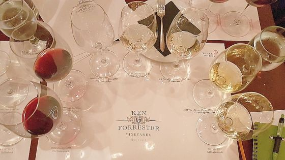 Ken Forrester wines poured in glasses for us to sample