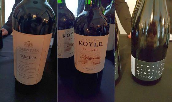 Salentein Numina Cabernet Franc, Vina Koyle Royale Carmenere, and John Duval Entity Shiraz wines
