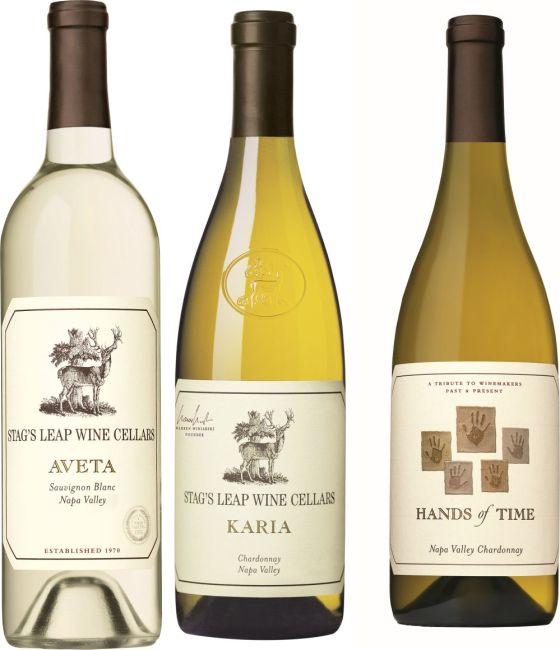 Stag's Leap Wine Cellars Aveta Sauvignon Blanc, Karia Chardonnay, and Hands of Time Chardonnay