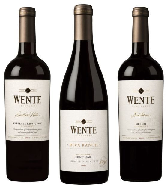 Wente Southern Hills Cabernet Sauvignon, Riva Ranch Single Vineyard Pinot Noir, and Sandstone Merlot