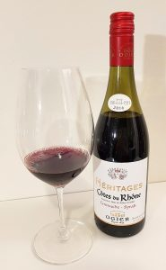 Ogier Heritages Cotes du Rhone Grenache - Syrah 2016 with wine in glass