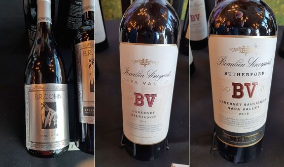B.R. Cohn Winery Silver Label Pinot Noir 2016, Beaulieu Vineyard Napa Valley Cabernet Sauvignon 2015, and Beaulieu Vineyard Napa Valley Rutherford Cabernet Sauvignon 2015 at VanWineFest 2019