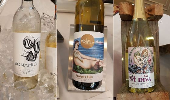Blasted Church Vineyards Sauvignon Blanc, Bonamici Cellars Pinot Grigio, and Crescent Hill Winery I am Diva Frizzante Gewurztraminer