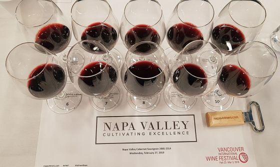 Glasses of Napa Valley Cabernet Sauvignon at our seminar at VanWineFest 2019