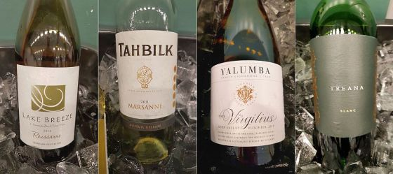 Lake Breeze Roussanne, Tahbilk Marsanne, Yalumba The Virgilius Viognier, and Treana Blanc white wines