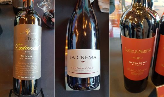 Langetwins Family Winery and Vineyards Centennial Zinfandel 2011, La Crema Sonoma Coast Pinot Noir 2016, and Louis M Martini Winery Monte Rosso Cabernet Sauvignon 2014 wines at VanWineFest 2019