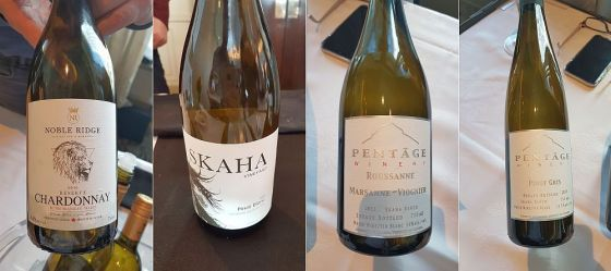 Noble Ridge Reserve Chardonnay, Skaha Vineyard Pinot Blanc, Pentage Winery Pinot Gris, and Pentage Winery Roussanne Marsanne Viognier