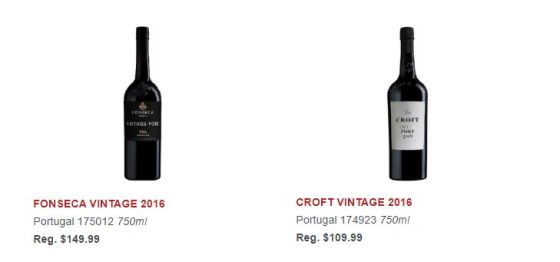 FONSECA VINTAGE 2016 and CROFT VINTAGE 2016