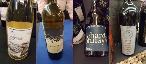 Indigenous World Winery Pinot Gris 2018, LaStella Winery Vivace Pinot Grigio 2017, Upper Bench Estate Winery Chardonnay 2017, and Kalala Organic Estate Winery Zweigelt 2017 wines