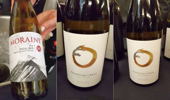 Moraine Estate Winery Riesling 2018, Phantom Creek Estates Riesling and Viognier 2017 wines
