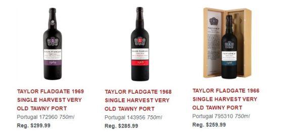 TAYLOR FLADGATE 1969 SINGLE HARVEST VERY OLD TAWNY PORT, 1968 SINGLE HARVEST VERY OLD TAWNY PORT, and TAYLOR FLADGATE 1966 SINGLE HARVEST VERY OLD TAWNY PORT