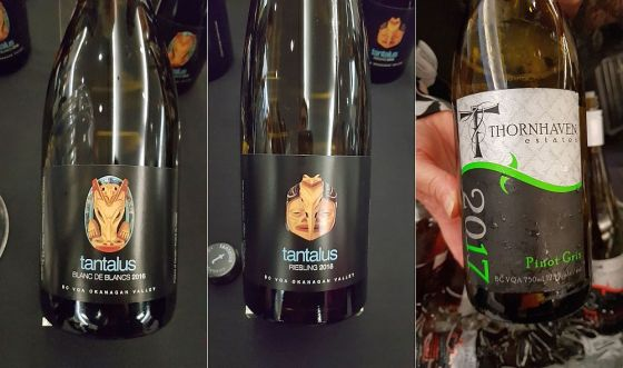 Tantalus Vineyards Blanc de Blancs 2016, Tantalus Vineyards Riesling 2018, and Thornhaven Estate Winery Gewurztraminer 2017 wines