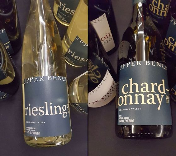 Upper Bench Estate Winery Riesling 2018 and Chardonnay 2017 wines