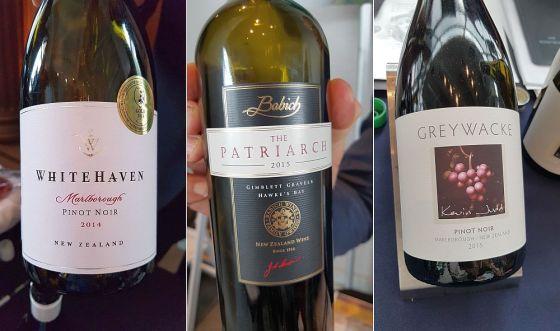 Whitehaven Marlborough Pinot Noir 2015 (label shows 2014), Babich Wines The Patriarch Cabernet Sauvignon Gimblett Gravels 2015, and Greywacke Pinot Noir 2015 wines