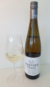 Harper's Trail Pioneer Block Riesling 2018 with wine in glass