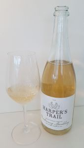 Harper's Trail Chardonnay Sparkling 2016 with wine in glass