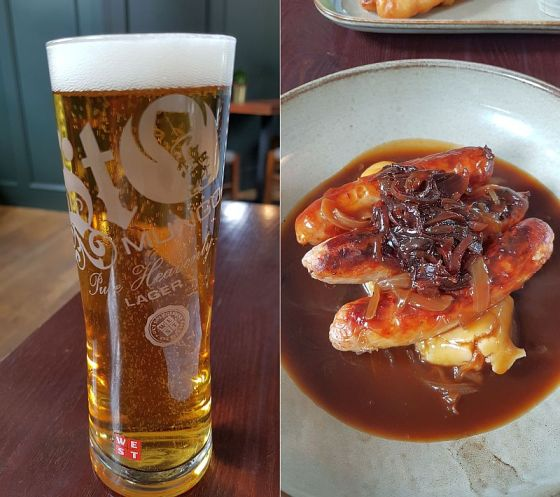 St Mungo lager paired with bangers and mash