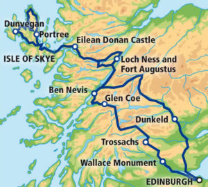 3 Day Tour - Isle of Skye and Highlands Map from the Wee Red Bus