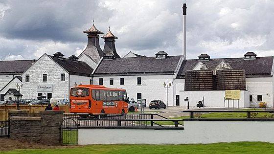 Dalwhinnie Distillery with pagoda shaped chimneys