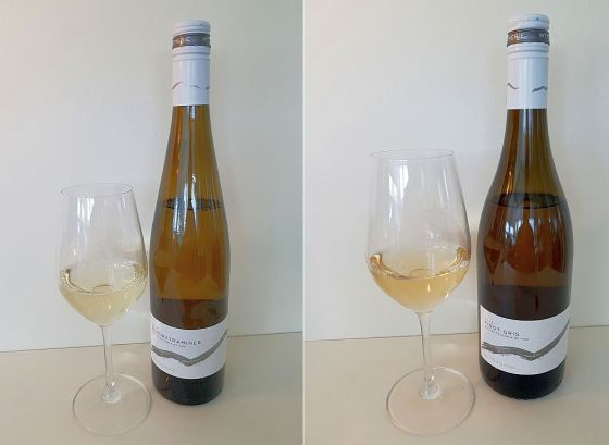 Mt. Boucherie Gewurztraminer and Pinot Gris 2018 with wine in glass