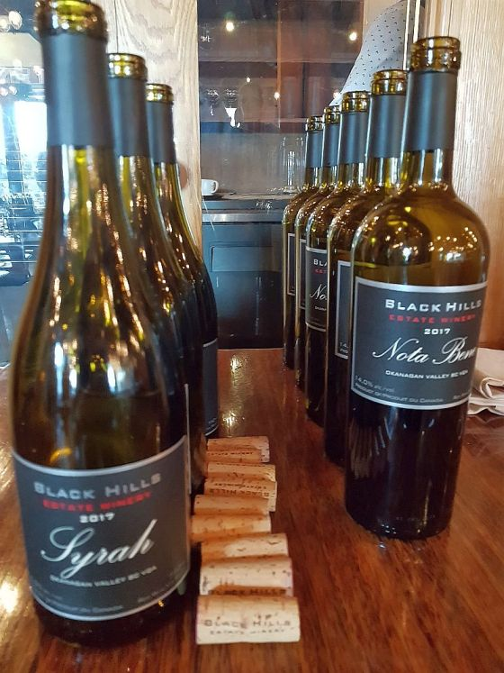 Bottles of Black Hills Estate Winery Syrah and Nota Bene 2017