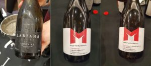 Lariana Cellars Viognier 2018, Meyer Family Vineyards McLean Creek Road Chardonnay 2017, and Meyer Family Vineyards Tribute Series - Joannie Rochette Chardonnay 2017