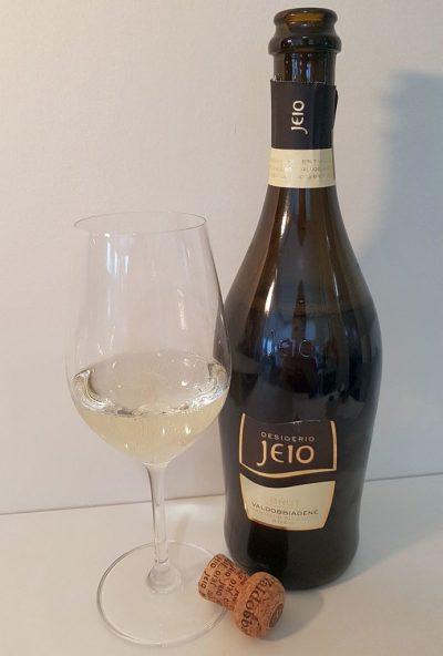 Bisol Jeio Brut DOC Valdobbiadene Prosecco with wine in glass
