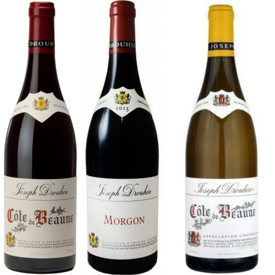 Maison Joseph Drouhin Cote de Beaune Rouge 2016, Morgon 2017, and Cote de Beaune Blanc 2017 wines