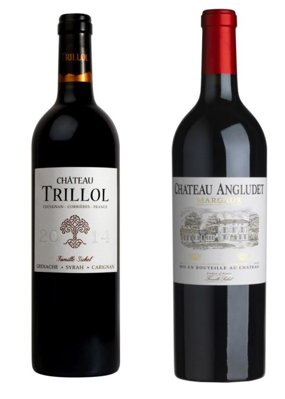 Maison Sichel Chateau Trillol 2015 and Chateau Angludet Rouge 2016 wines
