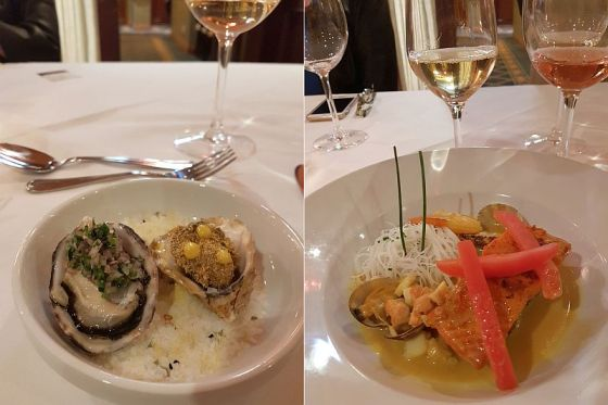 Oyster Duo and Goan Fisherman's Stew dishes