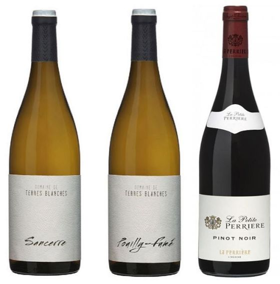 Saget La Perriere Terres Blanches Sancerre Sauvignon Blanc, Terres Blanches Pouilly Fume, and Petite Perriere Pinot Noir