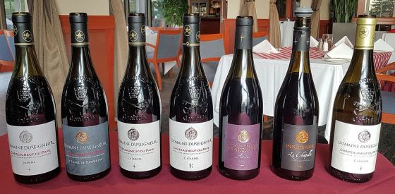 The flight of wines from Domaine Duseigneur