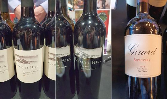 Novelty Hill Cabernet Sauvignon 2015, Novelty Hill Cascadia Red Bordeaux Blend 2016, and Girard Winery Artistry 2014 wines