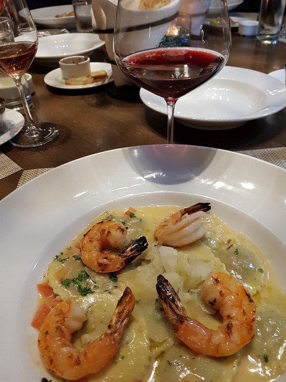 WILD MUSHROOM RAVIOLI WITH PRAWNS with Meyer Family Pinot Noir 2016 at Provence Marinaside