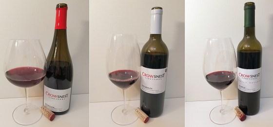 Crowsnest Vineyards Pinot Noir 2016, Merlot 2016, and Family Reserve Merlot 2014