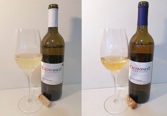 Crowsnest Vineyards Riesling 2018 and Gewurztraminer 2017