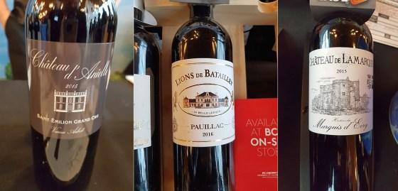 Aubert Vignobles Chateau d'Anielle Saint-Emilion Grand Cru 2015, Borie-Manoux Chateau Lions de Batailley 2016, and Crus et Domaines de France Chateau de Lamarque 2015 wines at VanWineFest 2020