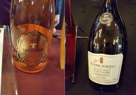 Cantine Giacomo Montresor Rose Royal Brut NV and Medici Ermete Concerto Lambrusco Reggiano Frizzante NV wines at VanWineFest 2020